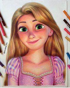 Rapunzel drawing by david dias Disney Character Drawings, Disney Drawings Sketches, Disney Princess Drawings, Art Drawings Sketches Simple, Pencil Art Drawings, Realistic Drawings, Colorful Drawings, Cartoon Drawings, Cute Drawings