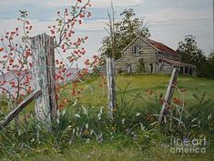 Rustic Barn Painting - Berry Barn by Val Stokes Watercolor Barns, Watercolor Landscape, Landscape Art, Landscape Paintings, Landscapes To Paint, Watercolour, Barn Pictures, Pictures To Paint, Farm Paintings