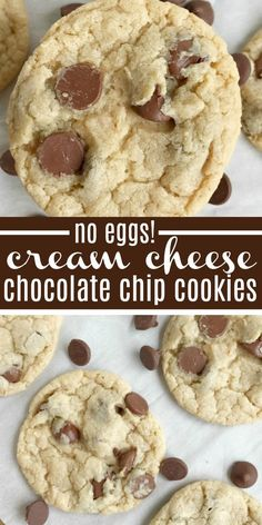 Cream cheese chocolate chip cookies are a fun twist to the classic chocolate chip cookie recipe, but without any egg! Soft-baked, creamy, and so yummy. Desserts Without Eggs, No Egg Desserts, Cream Cheese Desserts, Cream Cheese Cookies, Cream Cheese Recipes, Easy Desserts, Dessert Recipes, Cookies Without Eggs, Cookie Recipes Without Eggs
