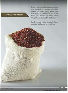 Mappilai samba dosa recipe published in Discover Chennai magazine