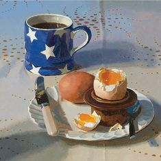Breakfast by Jeremy Galton, Fine Art Greeting Card, Oil on Board, Eggs and coffee on table Food Painting, Painting & Drawing, Food Illustrations, Illustration Art, Academic Drawing, A Level Art, Still Life Art, Kitchen Art, Art Sketchbook
