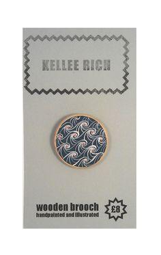 handpainted wooden brooch  pin  badge  waves sea by KELLEERICH, £8.00 #brooch #handmade #handpainted #illustrated #wood #pin