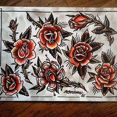 WEBSTA @ traditional_flash - Flash by @max_noname #trflash#traditional_flash#tattoo#tattooflash#traditional#traditionaltattoo#traditionalflash#tattooart#flash#art#illustration#drawing Traditional Tattoo Work, Traditional Tattoo Flash, Pin Up Tattoos, Rose Tattoos, Tatoos, Old School Rose, Flash Art, American Traditional, Flower Tattoo Designs