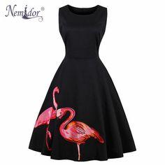 Nemidor 2018 Hot Sales Women Retro O-neck Cocktail A-line Swing Dress Flamingo Embroidery Midi Party Rockabilly Swing Dress