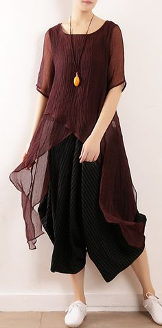5e201356681db8 Bohemian burgundy linen top asymmetric hem Plus Size Clothing summer  blouse. Plus Size Sweaters, Plus Size T Shirts, Linen Tops, Cotton ...