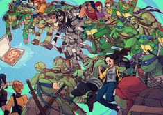 Every generation of tmnt fighting for one specific pizza something you won't see every day Tmnt 2012, Ninja Turtles Art, Teenage Mutant Ninja Turtles, Turtles Forever, Tmnt Leo, Tmnt Comics, Dc Movies, Fan Art, Pics Art