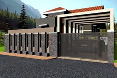 Skillful modern gates designs house and fences is one of images from modern gate design for house. Find more modern gate design for house images like this one in this gallery House Fence Design, Exterior Wall Design, Front Wall Design, Gate Designs Modern, Modern Fence Design, Modern Gates, Backyard Fences, Fenced In Yard, Fence Garden
