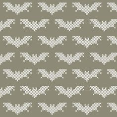 Cross Stitch Bat Fabric, designed by @Kate Blandford, available from @Spoonflower.
