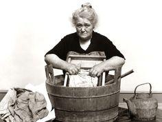 vintage woman washing clothes print | 1930s-1940s Senior Woman Washing Clothes in Old Fashioned Wooden Tub ...