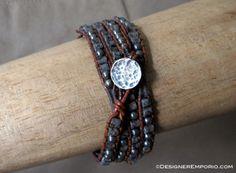Sterling silver & jasper bead mens leather DNA [Divine-Nature-Advantage] Morse code wrap bracelet. Custom made and handmade. Contact: www.designeremporio.etsy.com or www.madeit.com.au/designeremporio