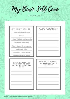 Free checklist for Self-care Self Care Worksheets, Therapy Worksheets, Self Care Activities, Mental Health Activities, Journal Prompts, Journals, Self Care Routine, Coping Skills, Best Self