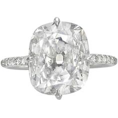 Cushion Cut Diamond Platinum Ring | From a unique collection of vintage engagement rings at https://www.1stdibs.com/jewelry/rings/engagement-rings/