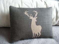 hand printed charcoal white hart stag cushion