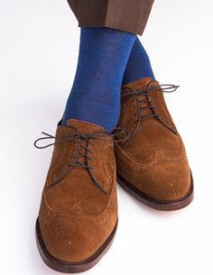 Dapper Classics Blue Melange Socks with Gray Tipping Fine Merino Wool Linked Toe Sock