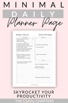 The best daily planner printable to skyrocket your productivity and boost your daily organization. Works as the perfect template to schedule your day and organize your task list. With a beautiful minimalist layout, these pages are great to add to your bullet journal layout. Check out this printable daily planner today! #printable #planner