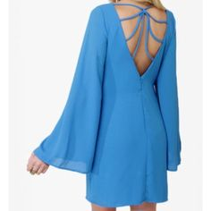 Backless Blue Dress Perfect for a night out with the girls! Only worn once to try on. Zipper on back.  ✅Reasonable offers welcome! ✅BUNDLE DISCOUNTS! No trades/paypal/other apps. No lowball offers. Dresses