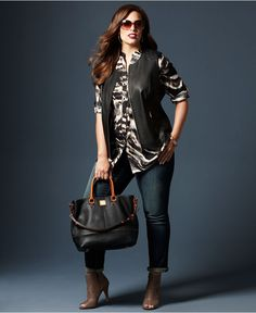 152 Fall Trend Report Plus Size Look of Leather Vest Printed Shirt