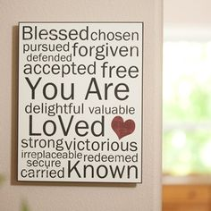 "You Are Loved - 11"" x 14"" Wall Art - White.."