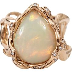 Lucifer Vir Honestus Opal And Diamond Organic Ring ($5,810) ❤ liked on Polyvore featuring jewelry, rings, diamond rings, opal jewelry, opal ring, diamond jewellery and diamond jewelry