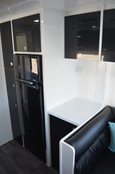 Even more bench and cupboard space. Fridge is elevated off the ground. Caravans For Sale, Rv Parts And Accessories, Cupboard, Bench, Kitchen Appliances, Space, Storage, Furniture, Home Decor