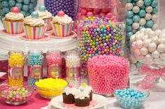 Colorful candy buffet with Celebration by SweetWorks. It's all color-coordinated, making candy buffets a snap!