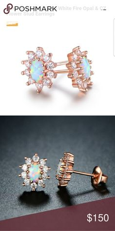 18K Rose Gold White Fire Opal Earrings Brand New 18K Rose Gold White Fire Opal Stud Earrings. Botique Jewelry Earrings