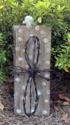 Barb Wire Cross on Old Barn Wood