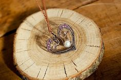Hert pendant /wire wrapped heart /pearl heart with от solarmetal