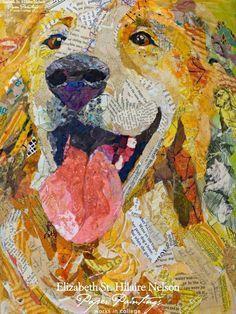 Golden Retriever - Torn Paper Collage by Elizabeth St. Hilaire Nelson