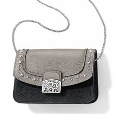 The Pretty Glam Ginger Snappy Minibag Gift Set features a black base with an edgy, studded leather flap in. It's fully customizable with additional flaps or swap out the chain for one of your favorite BYB straps. Brighton Handbags, Brighton Jewelry, Studded Leather, Mini Bag, Saddle Bags, Base, Chain, My Style, Stylish