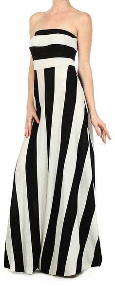 Black and white stripe strapless maxi dress