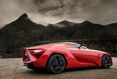 Red Super Car with mountain in the background