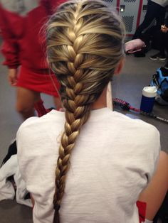 For Sports French braid hairstyle blonde highlights # Braids for sports plaits # Braids for sports plaits Braided Hairstyles For School, Short Spiky Hairstyles, Braids Hairstyles Pictures, Sporty Hairstyles, French Braid Hairstyles, Hair Pictures, Ponytail Hairstyles, French Braids, Ladies Hairstyles