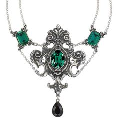 Queen of the Night Necklace ($100) ❤ liked on Polyvore featuring jewelry, necklaces, accessories, green, steampunk, steampunk necklace, green jewelry, goth jewelry, goth necklace and green pendant