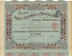 Sels Gemmes & Houilles de la Russie Meridionale - #scripomarket #scriposigns #scripofilia #scripophily #finanza #finance #collezionismo #collectibles #arte #art #scripoart #scripoarte #borsa #stock #azioni #bonds #obbligazioni