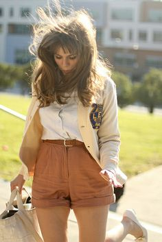 A fine day for sailing by Isla Bell, via Flickr Tan blazer, cognac shorts, white oxford