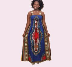 c3fb9afe3d6 Plus Size Traditional Blue Dashiki Prints Maxi Dress