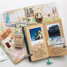 Travel journal pages and inspiration - ideas for travel journaling and art journaling. #travelideas