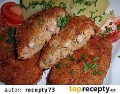 Houbové karbanátky s mletým masem recept - TopRecepty.cz Meatloaf, Hummus, Chicken, Hamburgers, Recipes, Burgers, Hamburger, Recipies, Ripped Recipes