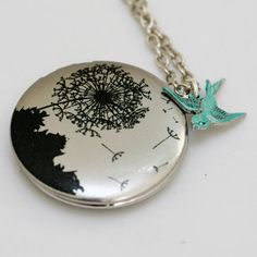Beautiful silver dandelion locket with turquoise bird by emmagemshop, $28.99 on etsy.com