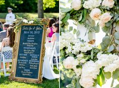Ceremony sign detail and DIY ceremony flowers  Military Virginia Wedding Navy Mint Gold at Stevenson Ridge