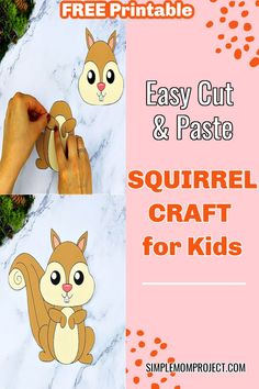 Learn how to make this free printable cut Easy Preschool Crafts, Preschool Art Projects, Fall Preschool, Easy Crafts For Kids, Toddler Crafts, Crafts To Do, Forest Animal Crafts, Zoo Crafts, Animal Crafts For Kids