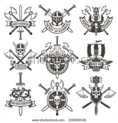 Viking logos Set in vintage style. Emblems with skulls and axes.