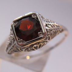 $59.00 1CT Natural Garnet Sterling Silver Art Deco Edwardian Style Filigree Ring Sz 8 Vintage Jewelry Jewellery FREE SHIPPING by BrightEyesTreasures on Etsy