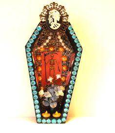Wooden Coffin Mexican Nicho Dia De Los Muertos Shrine Loteria Decor Day Of The Dead