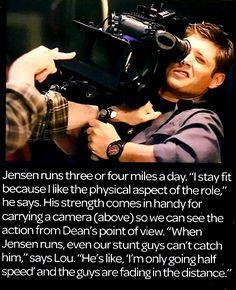 ''When Jensen runs, even our stunt guys can't catch him.'' ---- Jensen Ackles (Dean Winchester) runs! I knew there was a reason why he's my favorite! Jensen Ackles, John Barrowman, Dean Winchester, Bitch, Cw Series, Supernatural Fandom, Super Natural, Geek Out, Destiel