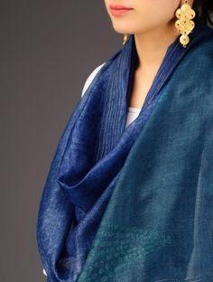 Indigo-Green Tussar Silk Batik Printed Stole