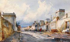 A Street in Pompeii with Figures, Giacinto Gigante (1806-1876), #art…