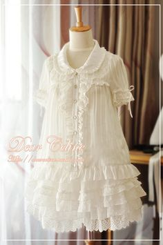 Dear Celine chiffon and lace baby doll collared blouse white