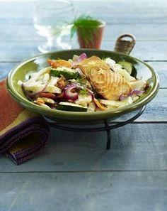 Fenchel-Gemüse-Pfanne mit Lachsfilet